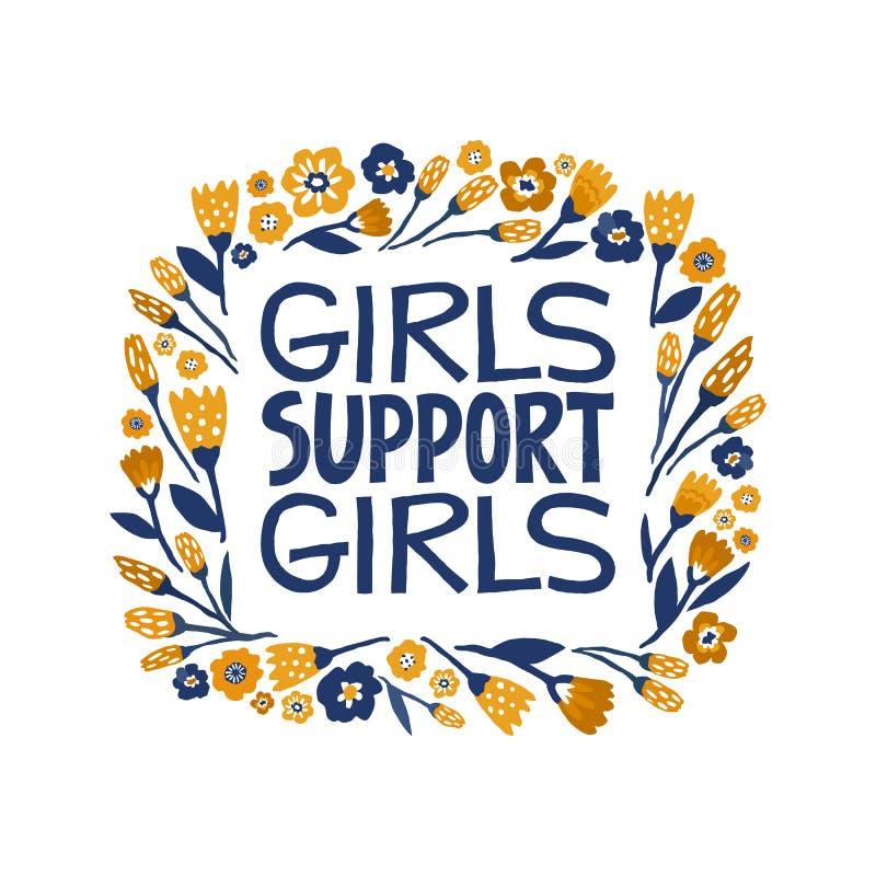 女孩支持女孩-手拉的在上写字的行情 在传染媒介做的女权主义行情 妇女诱导口号 ?? 向量例证