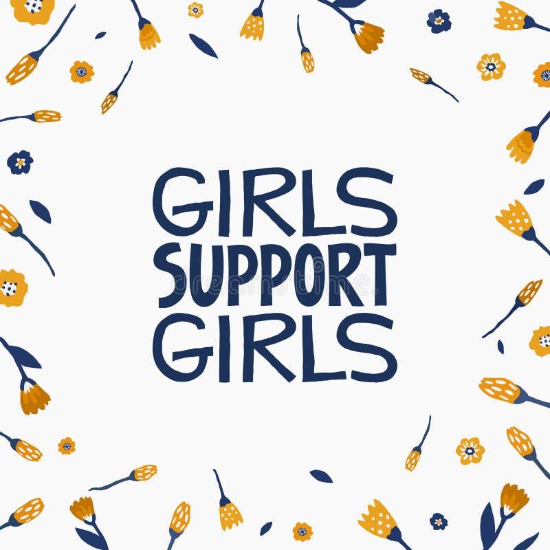 女孩支持女孩-手拉的在上写字的行情 在传染媒介做的女权主义行情 妇女诱导口号 ?? 皇族释放例证