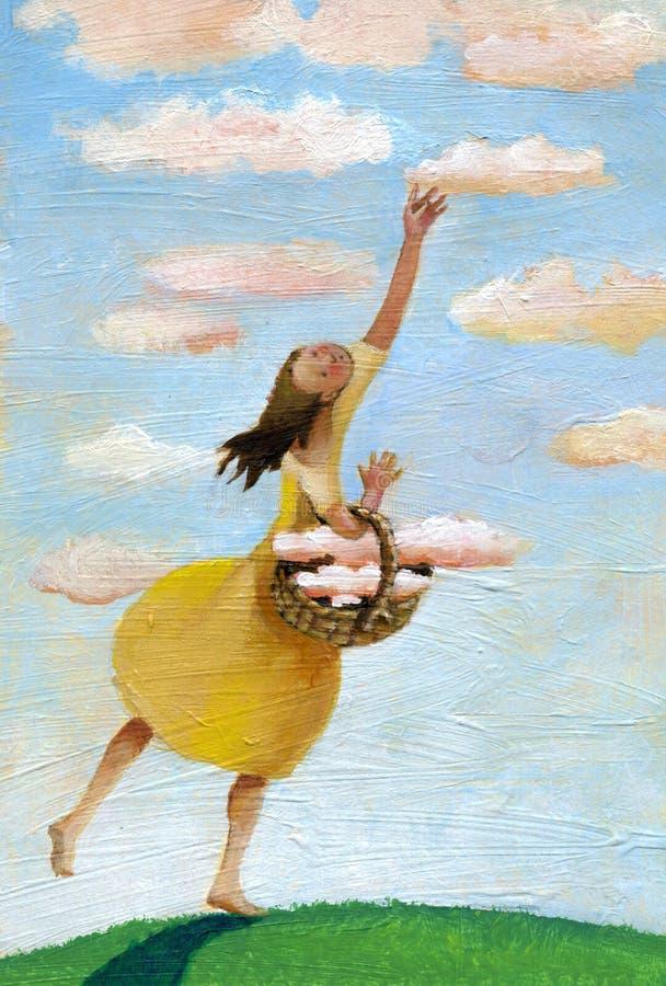 女孩收集在篮子的云彩 库存例证