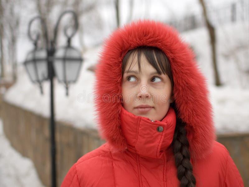 女孩敞篷红色 免版税库存照片