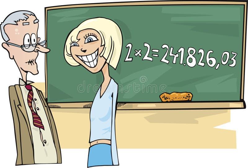 女孩数学题少年 库存例证