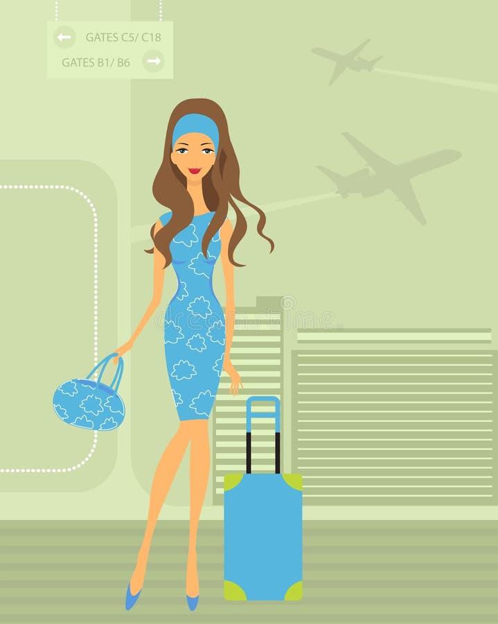 女孩旅行 向量例证