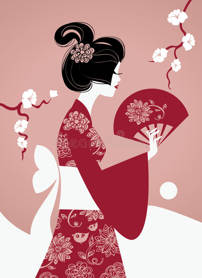 女孩日本人剪影 皇族释放例证