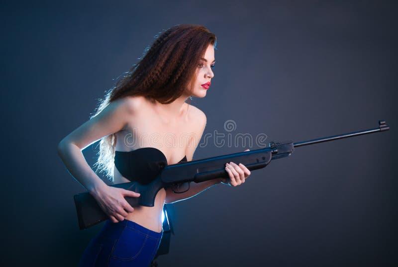 女孩时尚射击在演播室 库存照片