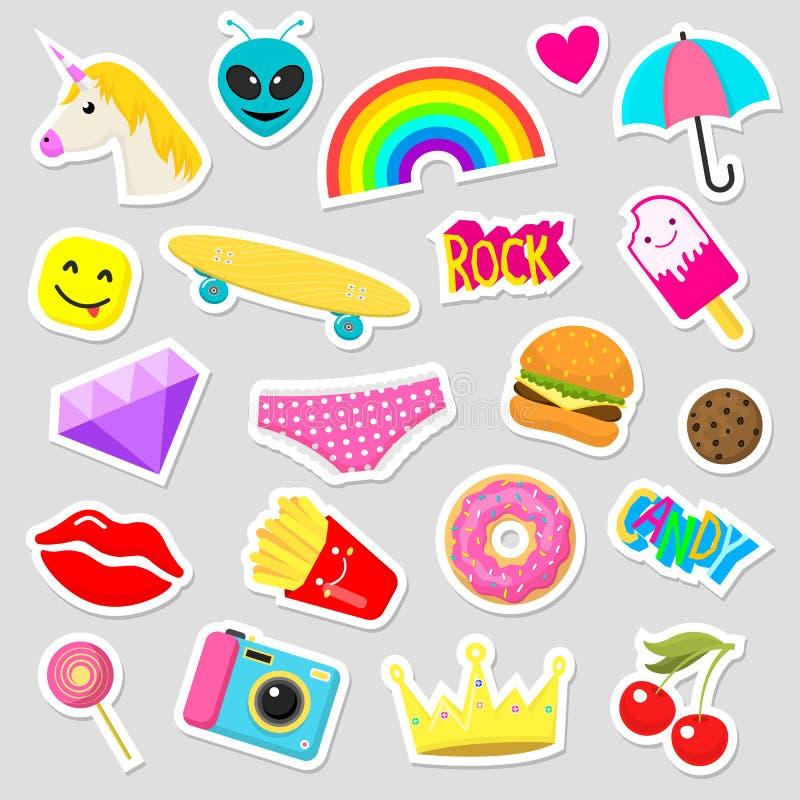 女孩时尚贴纸补丁逗人喜爱的五颜六色的徽章乐趣动画片象设计乱画元素时髦印刷品传染媒介 皇族释放例证