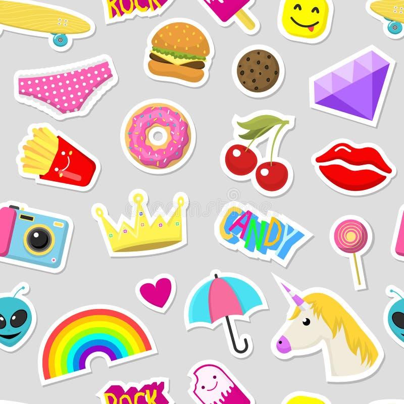 女孩时尚贴纸补丁逗人喜爱的五颜六色的徽章乐趣动画片象设计乱画元素时髦印刷品传染媒介 向量例证