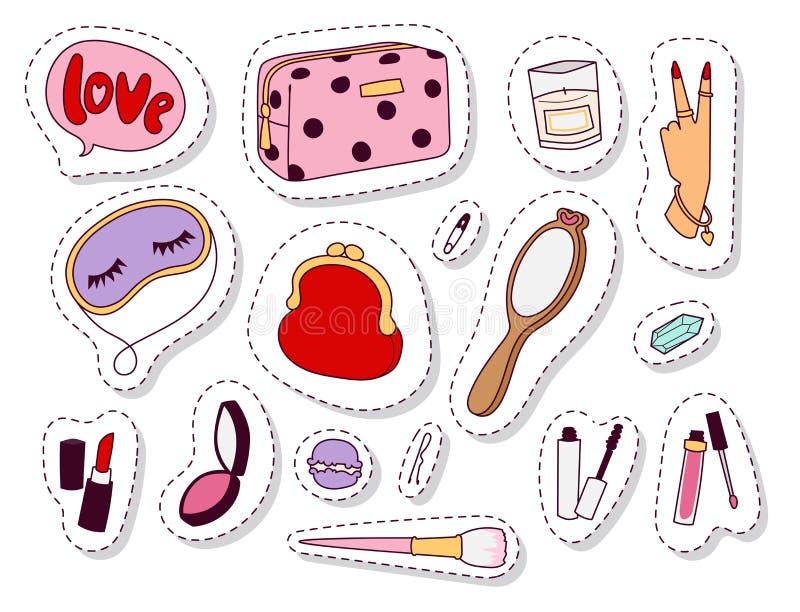 女孩时装配件偶然妇女样式购物项目和美丽的化妆或构成工具导航例证 库存例证