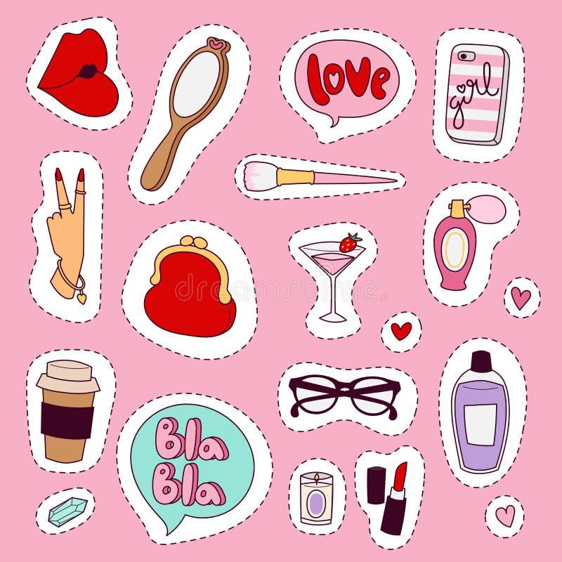 女孩时装配件偶然妇女样式购物项目和美丽的化妆用品或者构成用工具加工传染媒介例证 库存例证