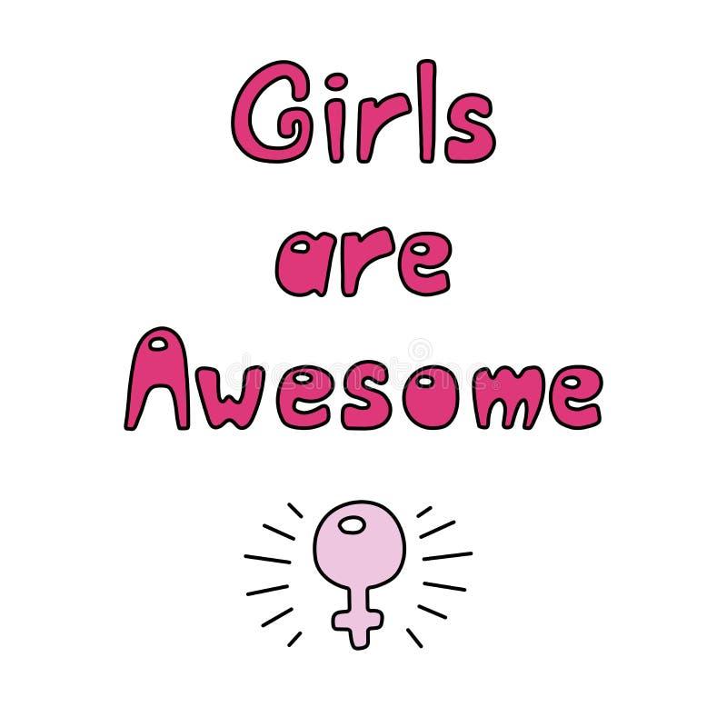 女孩是令人敬畏的行情 向量例证