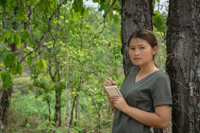 女孩是站立,采取在一个小笔记本的笔记在绿色森林里 库存图片