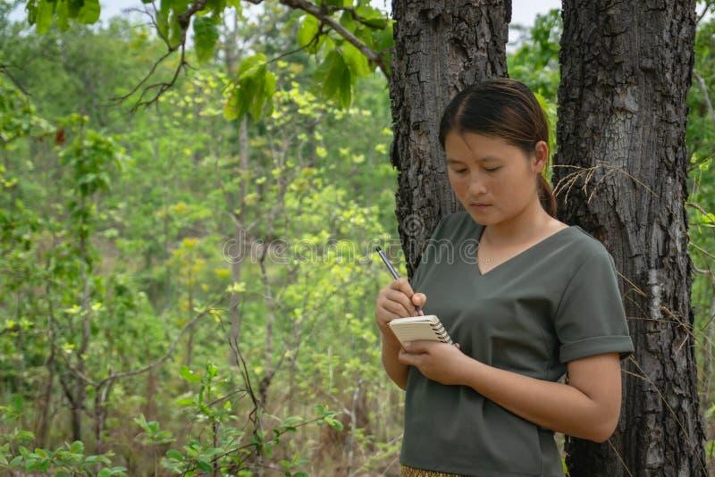 女孩是站立,采取在一个小笔记本的笔记在绿色森林里 库存照片