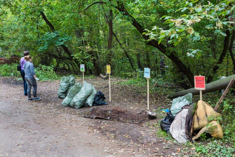 女孩是被排序的垃圾袋在麋鹿岛国家公园 免版税库存照片