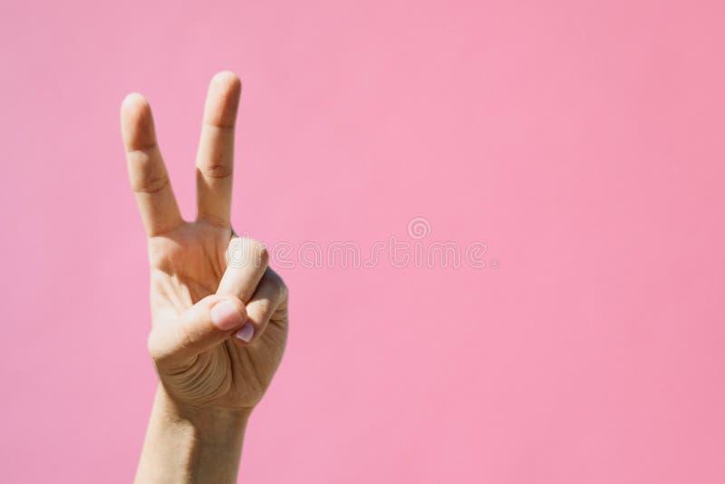 女孩显示和平标志 免版税图库摄影