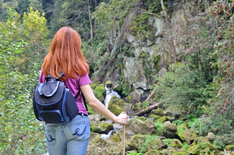 女孩有一个棍子和背包身分的徒步旅行者游人在山,看瀑布和石山 库存图片