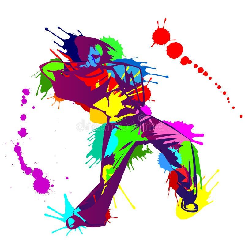 女孩有五颜六色的油漆的Hip Hop舞蹈家飞溅 皇族释放例证