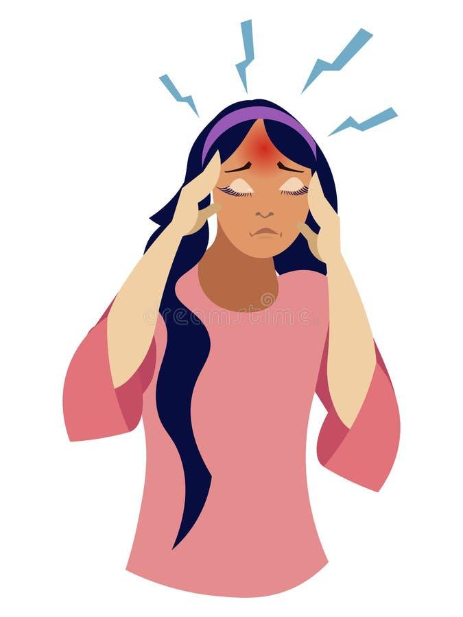 女孩有头疼,疾病 r 向量例证