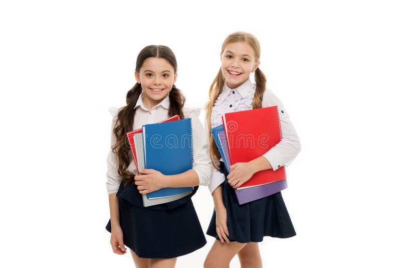 女孩有学校课本白色背景 我们爱研究 学习是乐趣 额外学校课程的购买书 ?? 免版税库存图片