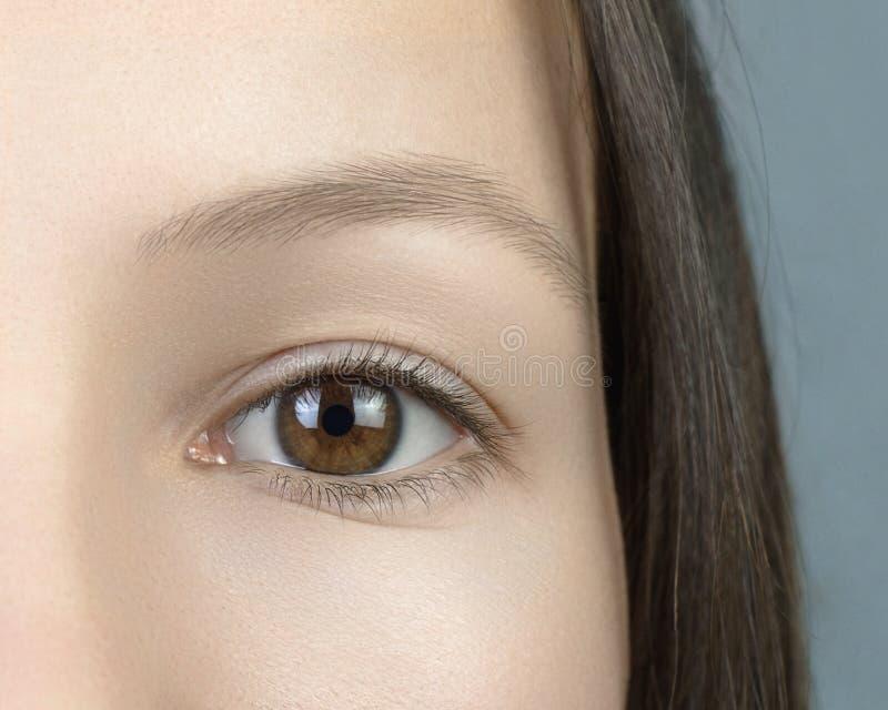 女孩有棕色眼睛 免版税图库摄影