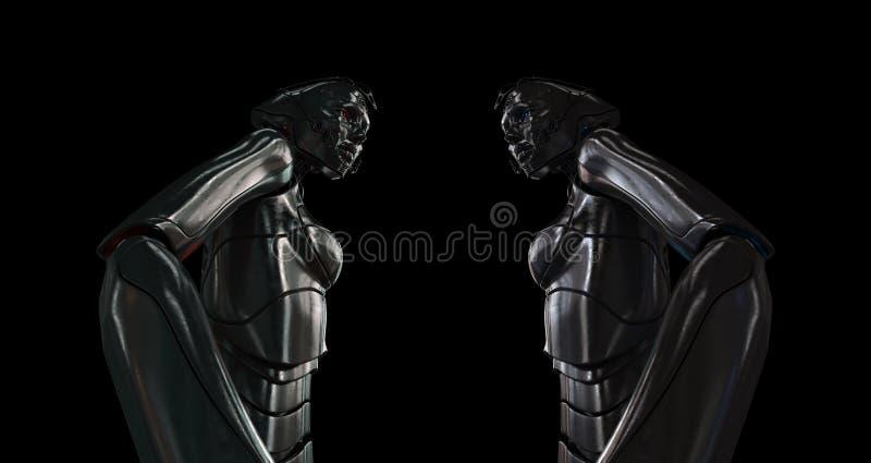 女孩机器人钢时髦 皇族释放例证