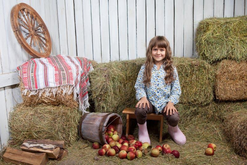女孩村民纵向在桶附近的用苹果 免版税库存图片