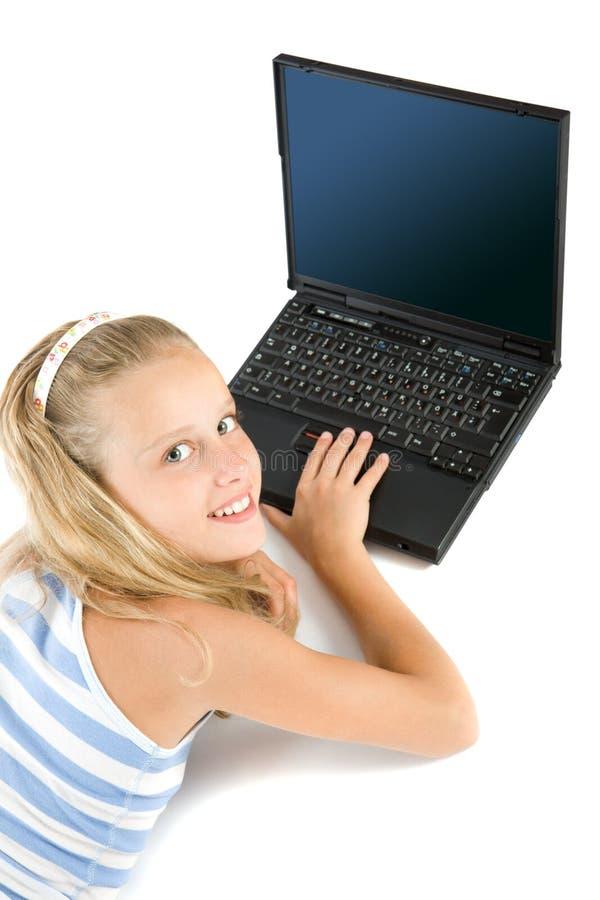 女孩查出的膝上型计算机青少年的白色 图库摄影