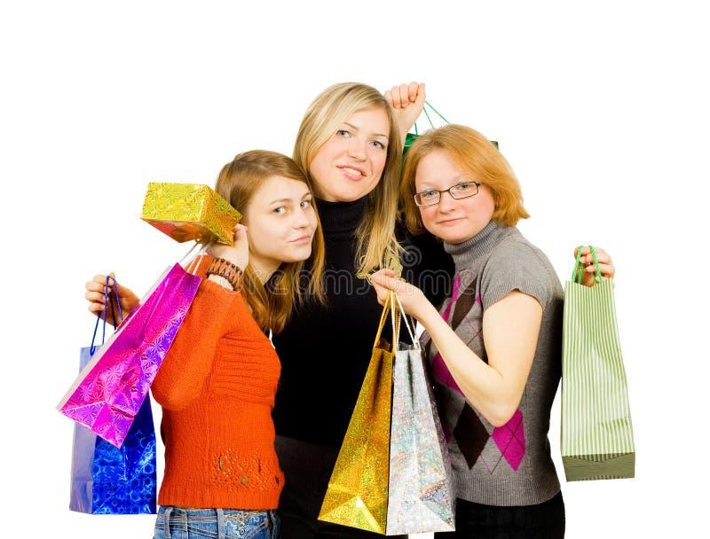 女孩查出购物的三 库存照片