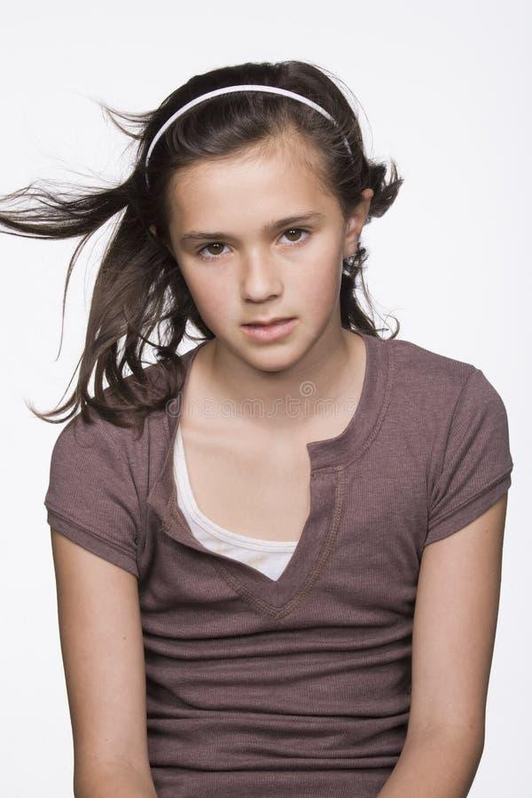 女孩查出青少年的纵向 图库摄影