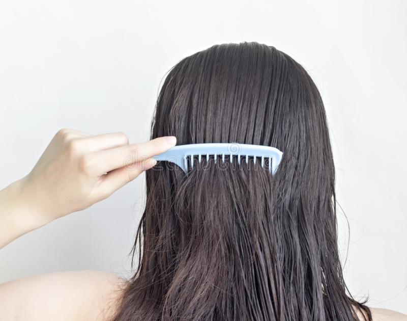 女孩梳长的黑发梳子,背面图,有吸引力白色的背景 免版税库存图片