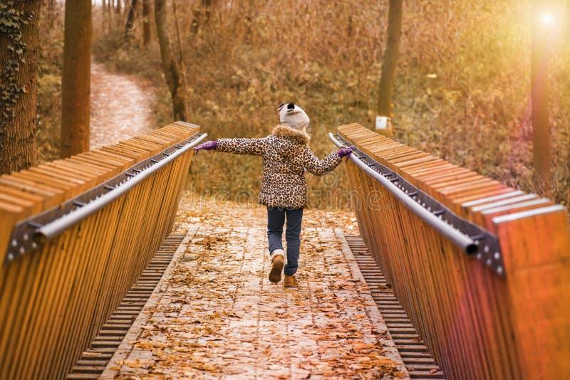 女孩横跨桥梁走在一秋天天 一秋天温暖的好日子 一个外套和帽子的女孩在一秋天天在a走 库存图片