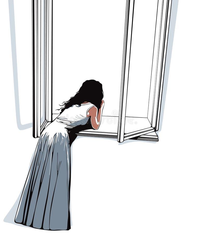 女孩注意的视窗 库存例证