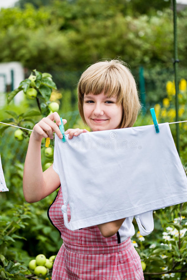 女孩洗涤物 库存图片