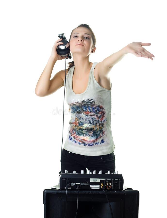 女孩混合的音乐 免版税库存照片
