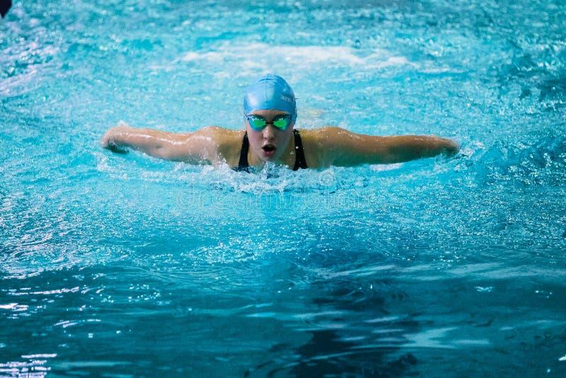 女孩游泳者游泳在水池的蝴蝶 免版税图库摄影