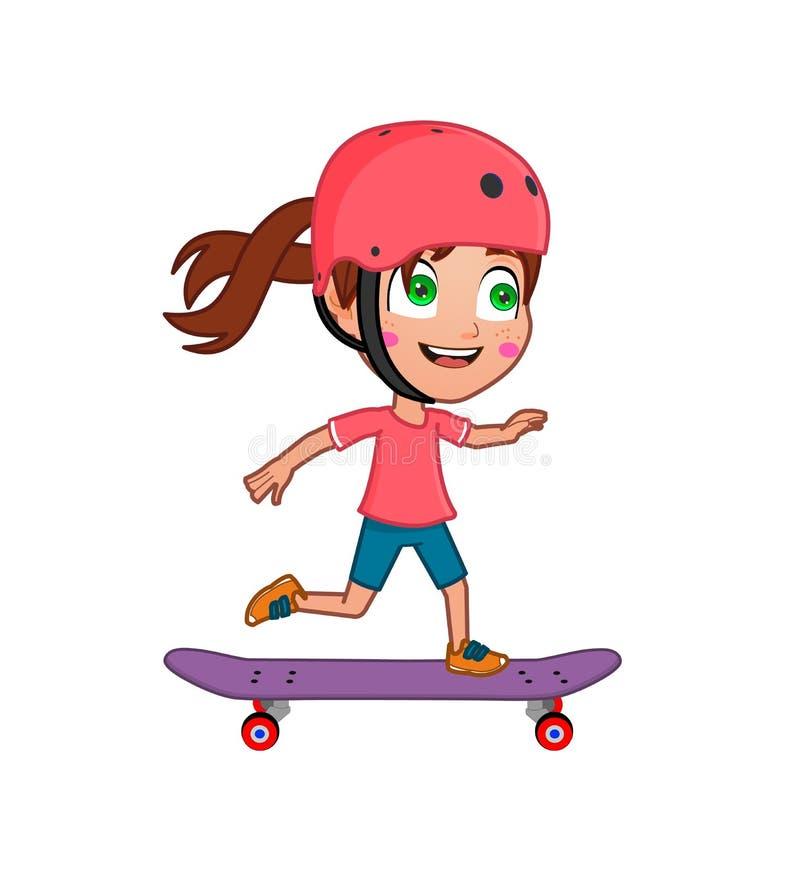 女孩溜冰板运动 库存照片
