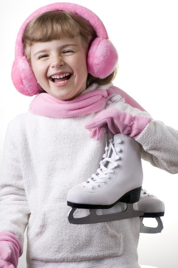 女孩滑冰 库存照片