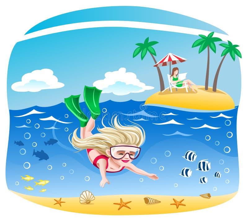 女孩潜水入海 向量例证