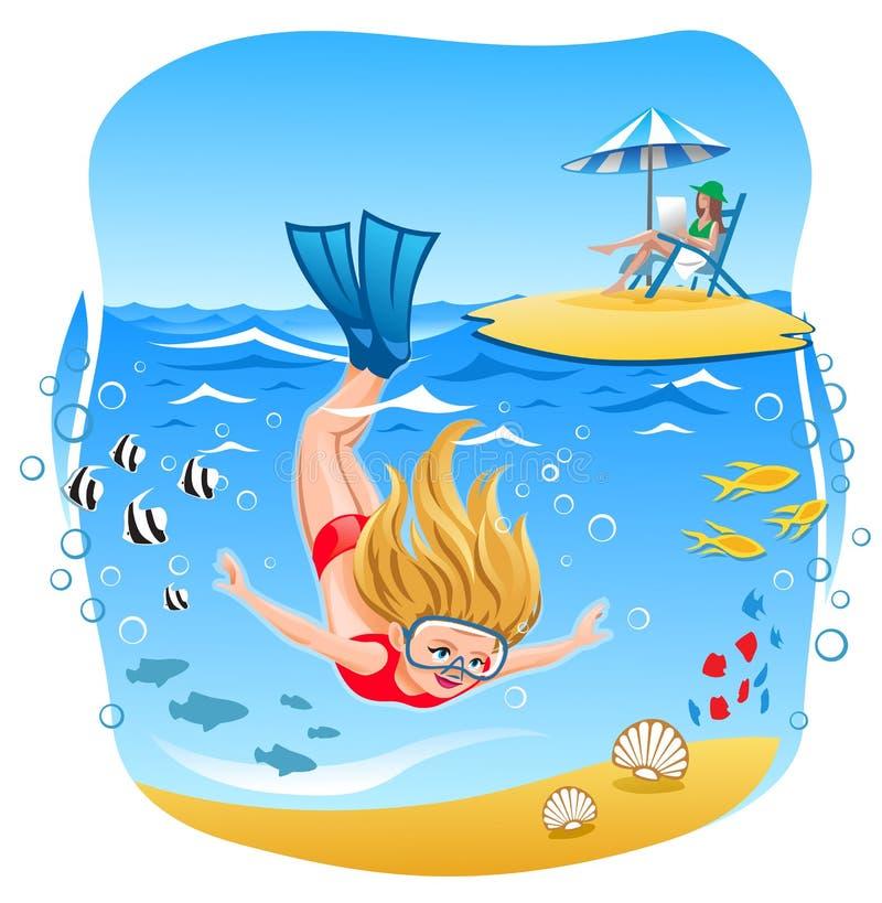 女孩潜水到海里 向量例证