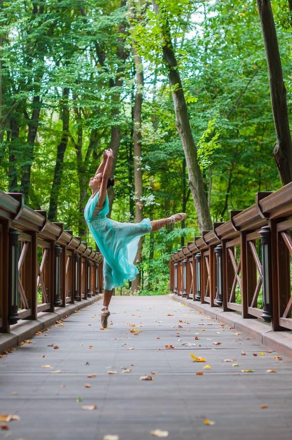 女孩热切舞蹈家立场,芭蕾竖趾旋转 免版税图库摄影