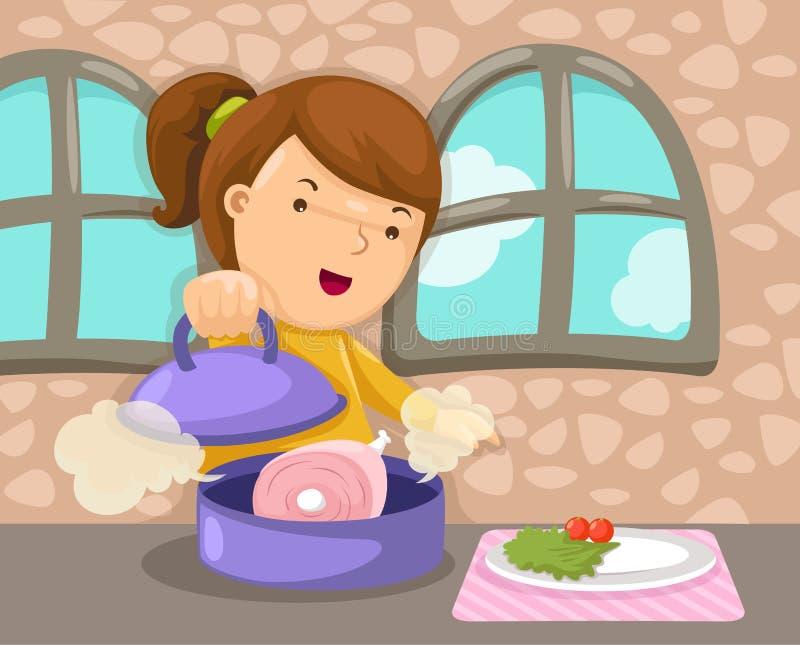 女孩烹调 库存例证