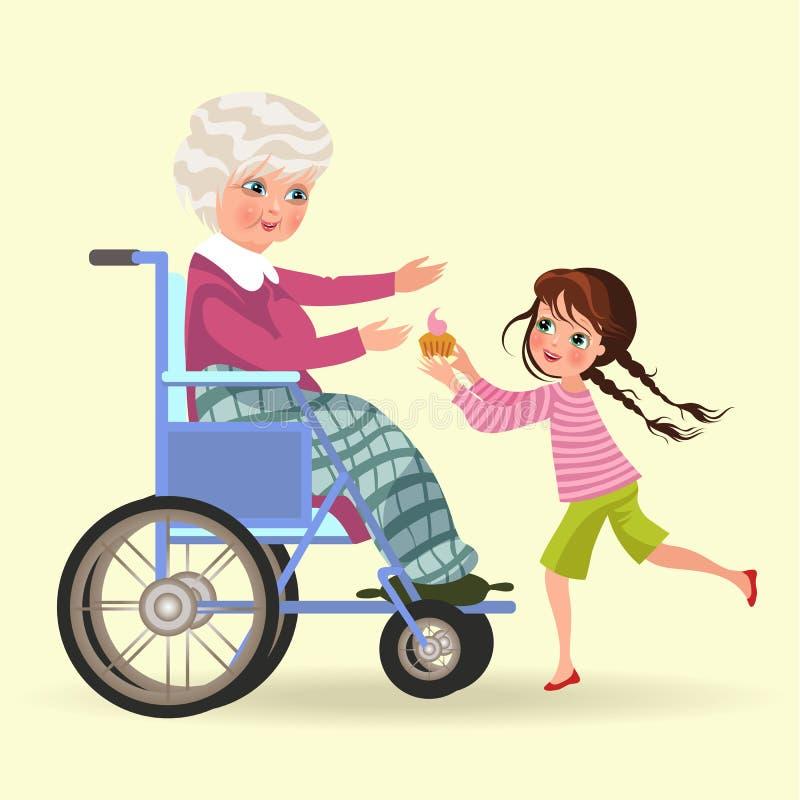 女孩照顾祖母,坐在晚餐的轮椅蛋糕的孙女熊资深灰发的妇女 皇族释放例证