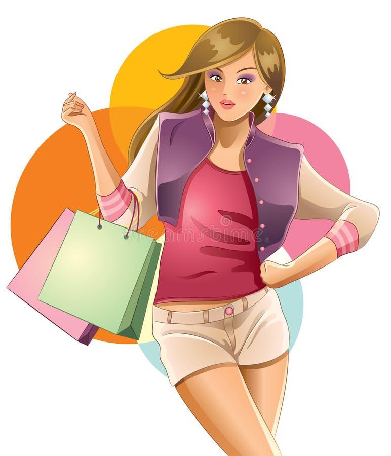 女孩爱俏丽的购物 向量例证