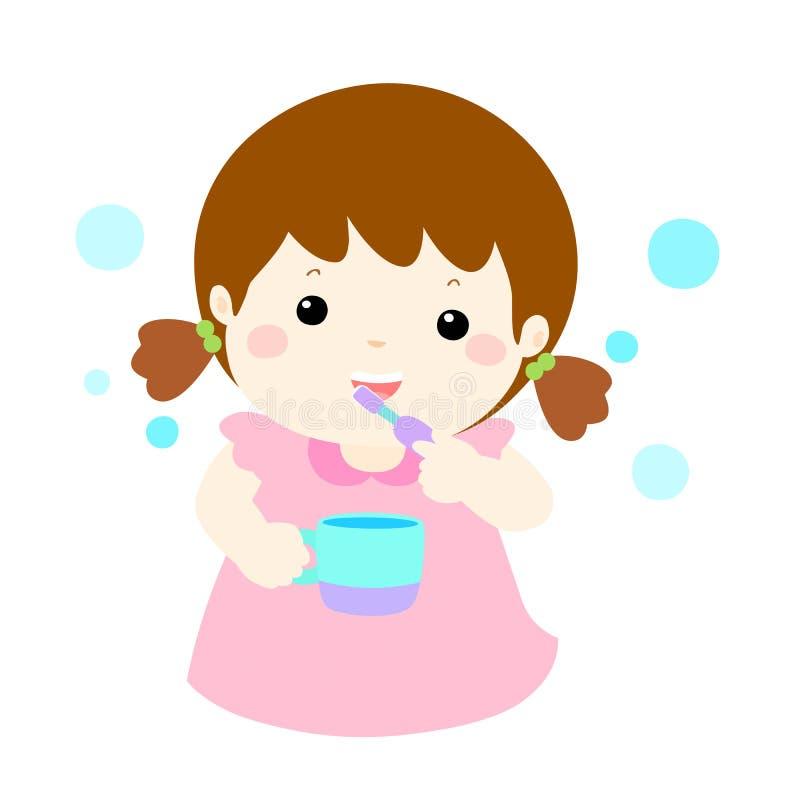 女孩爱刷子牙动画片 向量例证