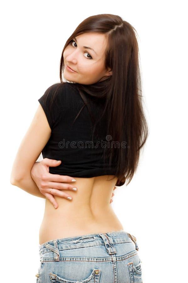 女孩牛仔裤 免版税库存照片