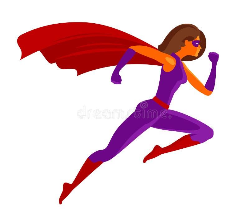 女孩特级英雄或非凡的女性飞行 外籍动画片猫逃脱例证屋顶向量 皇族释放例证
