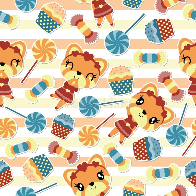 女孩狐狸的无缝的在镶边背景的样式和糖果导航动画片 库存例证