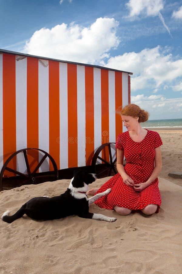女孩狗海滩客舱海,德帕内,比利时 免版税库存图片