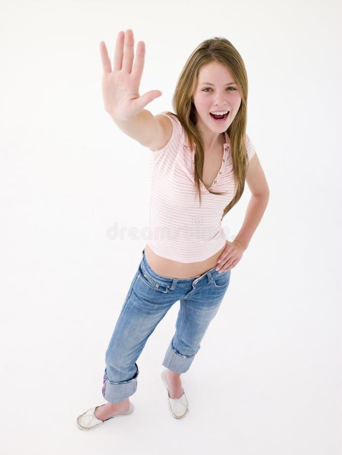 女孩现有量微笑的少年  库存照片