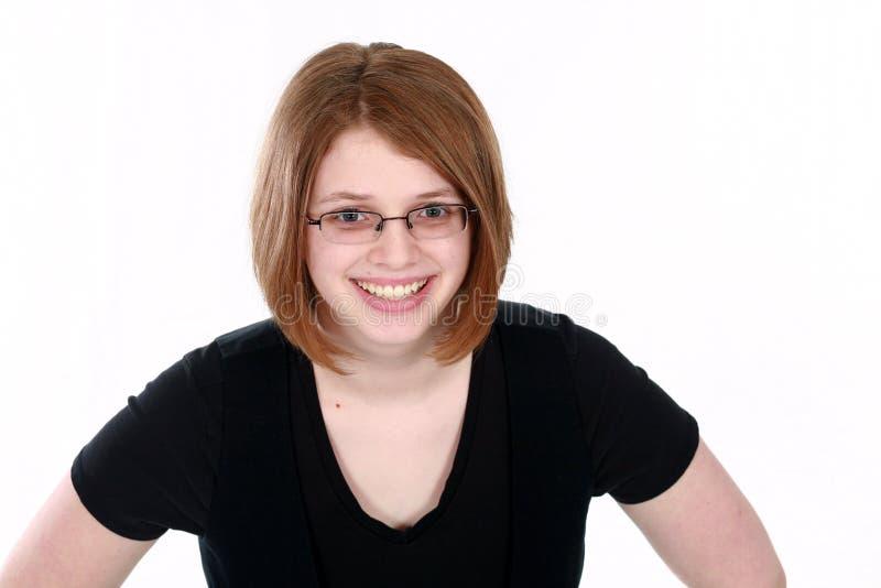 女孩玻璃实际青少年 免版税库存图片