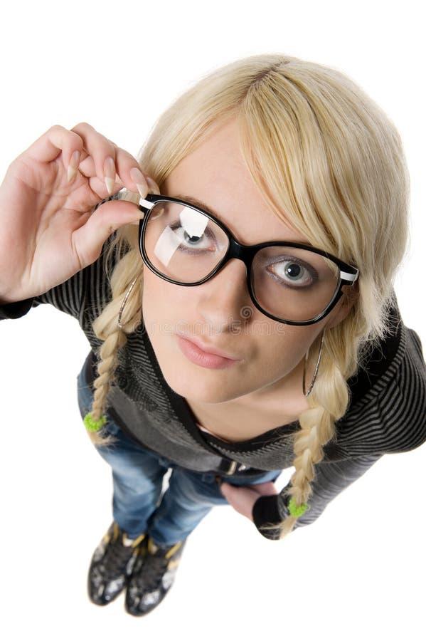 女孩玻璃幽默象看起来讨厌的妇女 库存图片