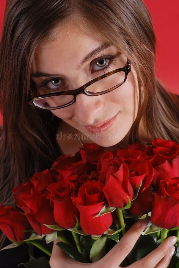 女孩玻璃玫瑰 库存图片
